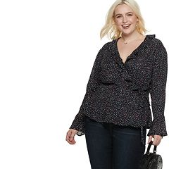 Plus Size POPSUGAR Ruffle Faux-Wrap Top