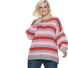 Plus Size POPSUGAR Print Balloon-Sleeve Sweater