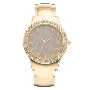Studio Time Women's Crystal Accent Fabric Dial Cuff Watch