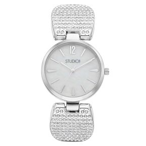 Studio Time Women's Crystal Pave Band Cuff Watch