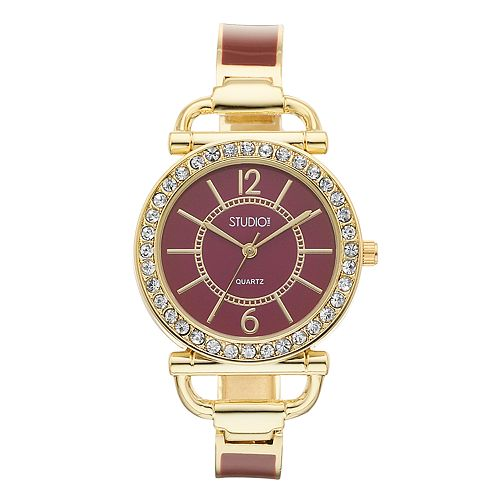 Studio Time Women's Crystal Accent Cuff Watch