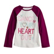 "Girls 4-10 Jumping Beans® ""Dance Your Heart Out"" Glittery Graphic Tee"