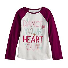 Girls 4-10 Jumping Beans® 'Dance Your Heart Out' Glittery Graphic Tee