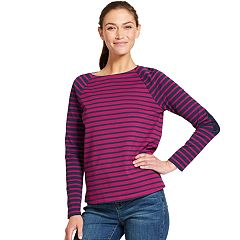 Women's IZOD Striped Elbow-Patch Top
