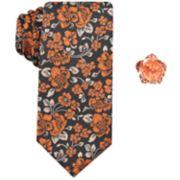 Men's Haggar Floral Tie & Lapel Pin Set