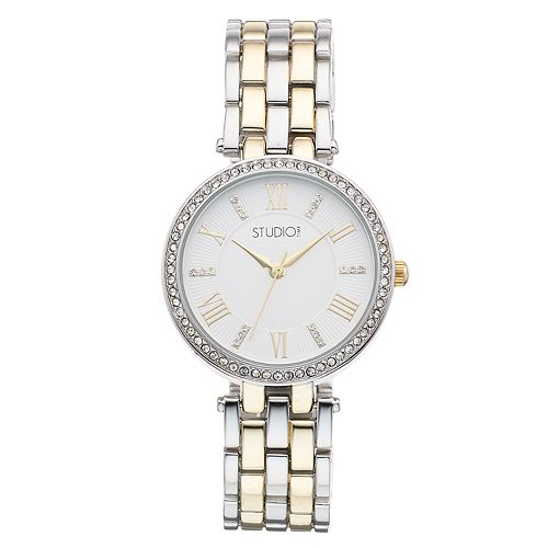 Studio Time Women's Crystal Two Tone Watch