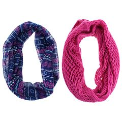 Girls 7-14 2-pack Geometric Tribal Print & Solid Knit Loop Infinity Scarves