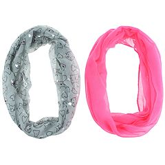 Girls 7-14 2-pack Kitty Cat & Solid Loop Infinity Scarves