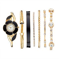 Studio Time Women's Floral Bangle Watch & Bracelet Set