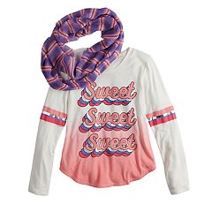 Girls 7-16 Self Esteem Long Sleeve Hi-Low Graphic Top Scarf Set