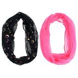 Girls 7-14 2-pack Celestial Oil Spill Foil & Solid Loop Infinity Scarves