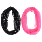Girls 7-14 2-pack Celestial Oil Spill Foil & Solid Loop Infinity Scarves