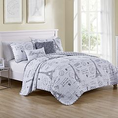 VCNY Paris Night Reversible Quilt Set