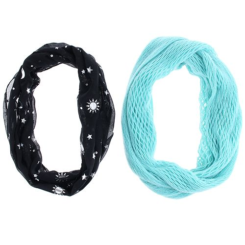 Girls 7-14 2-pack Celestial Wonder Foil Printed & Solid Knit Loop Infinity Scarves