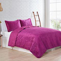 VCNY Solid Velvet Quilt Set