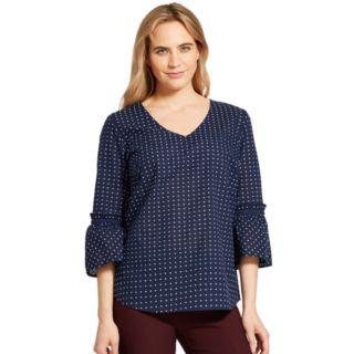 Women's IZOD Dot Bell-Sleeve Top
