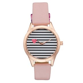 Women's Heart Accent Striped Dial Watch