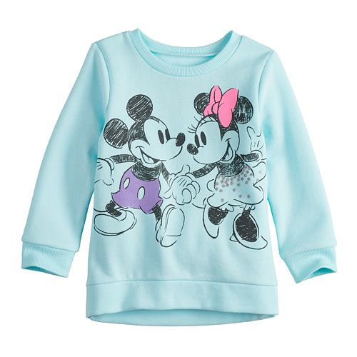 Disney's Mickey & Minnie Mouse Toddler Girl Glittery Graphic Softest Fleece Sweatshirt by Jumping Beans®