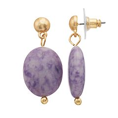 Gold Tone Purple Jasper Stone Nickel Free Drop Earrings