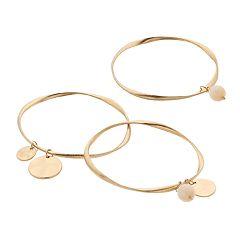Gold Tone Disc Charm & Bead Bangle Bracelet Set