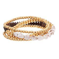 Gold Tone Bead & Purple Jasper Stretch Bracelet Set