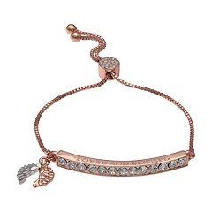 Brilliance 18k Rose Gold Plated 'Loved and Blessed' Adjustable Bracelet with Swarovski Crystals