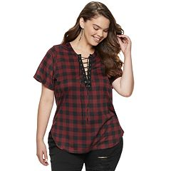 Juniors' Plus Size Liberty Love Lace-Up Plaid Tunic