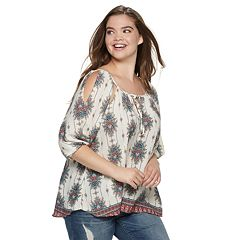Juniors' Plus Size Liberty Love Cold-Shoulder Peasant Top
