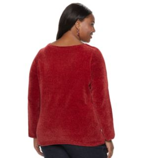 Plus Size Croft & Barrow® Chenille Boatneck Sweater