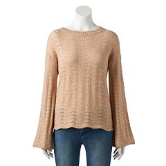 Women's LC Lauren Conrad Pointelle Trumpet-Sleeve Sweater
