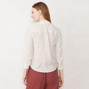 Women's LC Lauren Conrad Print Tie-Front Shirt