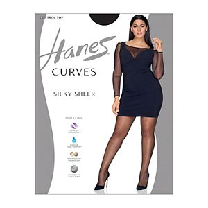 Plus Size Hanes Curves Silky Sheer Control Top Pantyhose