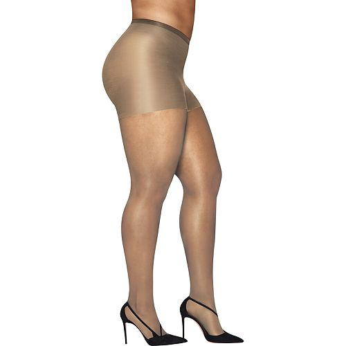 73f19a77b5b18 Plus Size Hanes Curves Silky Sheer Control Top Pantyhose