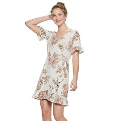 Juniors' Candie's® Floral Faux-Wrap Dress
