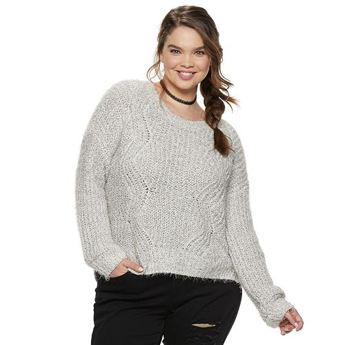 Juniors' Plus Size Candie's® Chenille Eyelash Sweater
