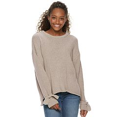 Juniors' Hint of Mint Tie Sleeve Pullover Sweater