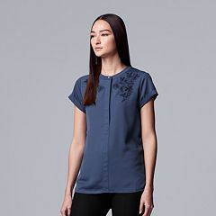 Women's Simply Vera Vera Wang Essential Embroidered Popover Top