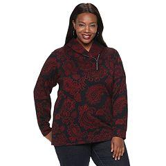 Plus Size Croft & Barrow® Jacquard Shawl Collar Top