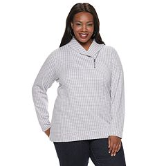 Plus Size Croft & Barrow® Jacquard Shawl Collar Top