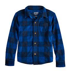 Boys 4-12 Jumping Beans® Buffalo Plaid Fleece Button Down Shirt
