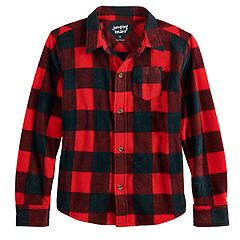 Boys 4-12 Jumping Beans® Buffalo Plaid Fleece Button Down Shirt