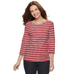 Petite Croft & Barrow® Striped Textured Top