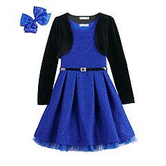 Girls 7-16 & Plus Size Knitworks Glitter Skater Dress & Velvet Shrug Set with Hair Bow & Belt
