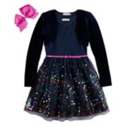 Girls 7-16 & Plus Size Knitworks Sequin Skater Dress & Shrug Set with Hair Bow