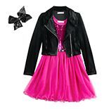 Girls 7-16 & Plus Size Knitworks Belted Sequin Dress & Moto Jacket Set with Hair Bow