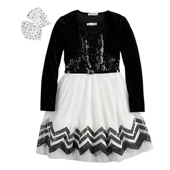 Girls 7-16 & Plus Size Knitworks Sequin Skater Dress & Velvet Shrug Set with Hair Bow