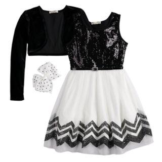 Girls 7-16 & Plus Size Knitworks Sequin Skater Dress & Velvet Shrug Set with Hair Bow