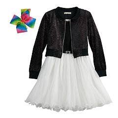Girls 7-16 & Plus Size Knitworks Belted Wire Hem Skater Dress & Bomber Jacket Set with Hair Bow