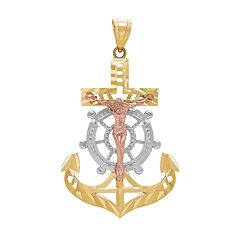 Everlasting Gold 10k Gold Crucifix Anchor Charm