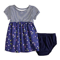 Baby Girl Jumping Beans® Striped & Dot Babydoll Dress